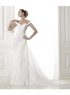 Straps Chapel Train Chiffon Sheath Column Wedding Dress