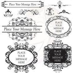 Black Ornate Frame Vintage Digital Frame Flourish Border Clip Art Classic Wedding Invitation Scrapbook Embellishment Oval Rectangle 10148. $6.20, via Etsy.
