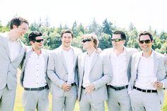 light grey groomsmen suits black ties - the lightest shade acceptable Groomsmen Beach Attire, Black Groomsmen Suits, Groom And Groomsmen, Wedding Groom, Wedding Suits, Wedding Attire, Chic Wedding, Wedding Ideas, Wedding Stuff