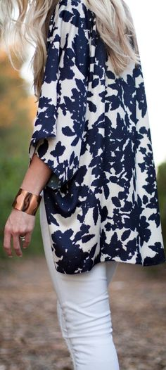 navy and white floral kimono- I just love a kimono over a silk cami that flows!