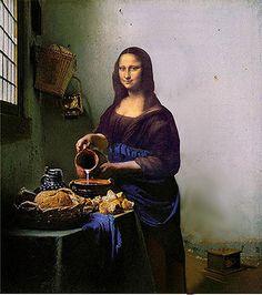 The Milkmaid Lisa Monalisa Wallpaper, Lisa Gherardini, La Madone, Mona Lisa Parody, Mona Lisa Smile, Victorian Wallpaper, Dutch Artists, Classical Art, Funny Art