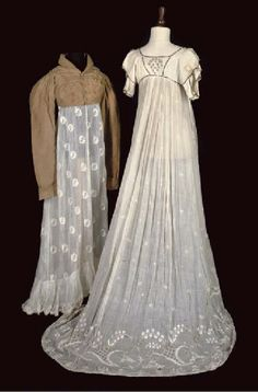 A smart caramel-coloured wool spencer with shawl collar and frogging; and a fine net overgown tamboured with daisy motif to hem and neckline All circa 1800-1815 Christie's