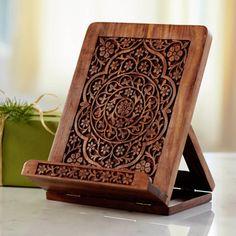 Handcarved Wooden iPad & Cookbook Stand | VivaTerra