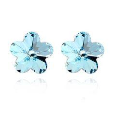 Sakura Shape Austrian Crysal Ear Studs - Aquamarine