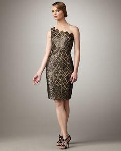 One-Shoulder Illusion Print Dress  by Tadashi Shoji at Neiman Marcus.