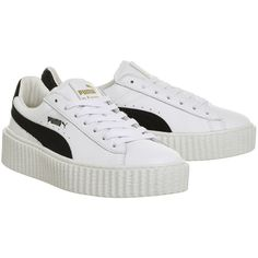 Puma Basket Creepers White Black Leather Fenty ($140) ❤ liked on Polyvore featuring shoes, leather shoes, white black shoes, puma creeper, puma shoes and real leather shoes