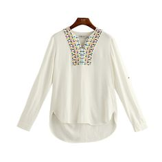 Oversized Vintage Embroidery Slimming V-neck High Low Geometry 9/10 Sleeves Blouse Top - OACHY The Boutique #slimming, #blouse, #neck, #embroidery, #sleeves