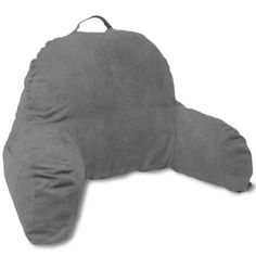 Deluxe Comfort Microsuede Bedrest Pillow Dark Grey - Best Bed Rest Pillows with Arms for Reading in Bed