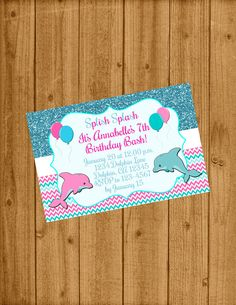 Dauphins sous la mer invitation anniversaire/sous l'anniversaire du parti Invitation/Dauphin mer / gratuit Merci carte Design #0014