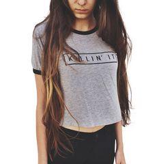 Gray Letter Print T-Shirt 9642 126565216