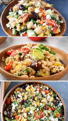 A protein-packed Mediterranean salad that is full of flavor and great served as a main dish or side dish! This Three Bean Salad is one of the best quinoa recipes that is great any time of the year! Try this healthy recipe loaded with protein and veggies! Best Quinoa Recipes, Healthy Summer Recipes, Healthy Meal Prep, Healthy Salad Recipes, Healthy Eating, Healthy Food, Recipes With Beans Healthy, Qinuoa Recipes, Vegetarian Quinoa Recipes