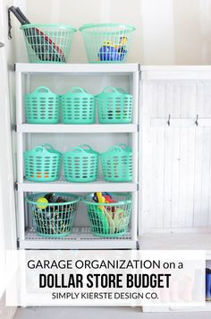 Garage organization on a dollar store budget? Organizing doesn't have to break the bank, and this proves it. Perfect for outdoor toys and more! Organizing Your Home, Organization Ideas For Garage, Toy Organization, Organizing Ideas, Garage Storage, Organising Hacks, Closet Organisation, Storage Hacks, Storage Bins