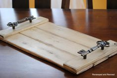 Serving Tray - Wooden Tray - Serving Platter - Centerpiece - Handcrafted from Reclaimed Wood - Vintage Key - Distressed Wood - Made to Order