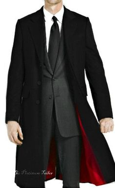 BNWT MENS CLASSIC BLACK WOOL CROMBIE OVERCOAT WARM WINTER LONG COAT ALL SIZES