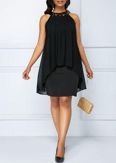 dress for women Chiffon Overlay Black Sequin Embellished Sleeveless Dress Women's Fashion Dresses, Casual Dresses, Club Party Dresses, Spandex Dress, Trendy Clothes For Women, Black Sequins, Chiffon Dress, Dresses Online, Overlay