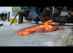 Pouring Lava onto ice to examine its properties.  It's difficult for geologists to witness the flow of lava on snow- and ice-covered volcanos, so researchers with the Syracuse University Lava Project decided to create their own simulation, melting 300 kg of lava and pouring it over ice to watch the effects.