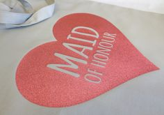 Maid of Honour Tote Bag with Pink Glitter Heart, Bridal Party Tote Bags