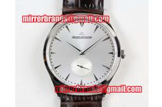 Jaeger-LeCoultre Master Ultra Thin Small Second SS ZF 1:1 Best Edition Black Dial on Black Leather Strap A896