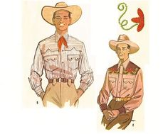 1950s Mens Western Shirt Pattern Size Large Chest by CherryCorners, $18.00