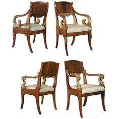 An Assembled Set of 4 Russian 2nd Empire Mahogany Armchairs | From a unique collection of antique and modern armchairs at http://www.1stdibs.com/furniture/seating/armchairs/