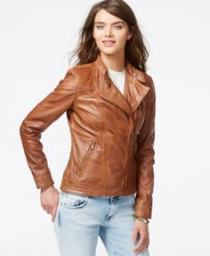 GUESS Asymmetrical Zip-Front Leather Jacket