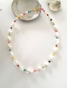 Baroque pearl necklace/pearl and Colourful beads necklace/Stylish Pearl necklace/Freshwaterpearl necklace/pearl collar necklace/multicolour - Baroque pearl necklace/pearl and Colourful beads Long Pearl Necklaces, Baroque Pearl Necklace, Baroque Pearls, Pearl Jewelry, Beaded Jewelry, Handmade Jewelry, Beaded Bracelets, Jewellery, Summer Necklace