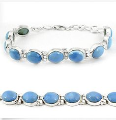 Natural Blue Owyhee Opal Tennis Bracelet Jewelry .925 Sterling Silver OOAK, (One Of A Kind) handmade jewelry, healing stones