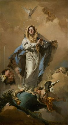 Readings from the gospel for the catholic mass according to the liturgy calendar: Immaculate Conception of the Virgin Mary, 2015 with picture The Immaculate Conception (Giovanni Battista Tiepolo, Prado, Madrid). Blessed Mother Mary, Blessed Virgin Mary, Catholic Art, Religious Art, Roman Catholic, Advent Catholic, Catholic Online, Catholic Saints, Immaculée Conception