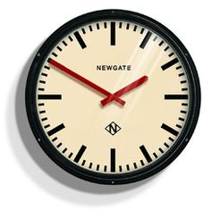 Metropolitan Wall Clock - Black - 60 x 60 x 10 cm - Metal Case, Glass Lens - Newgate - The Red Handed Clock