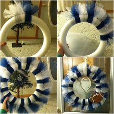 Dallas cowboys tulle wreath - blue and white or do any other colors for sport teams Dallas Cowboys Tutu, Dallas Cowboys Crafts, Tulle Wreath, Diy Wreath, Wreath Ideas, Mesh Wreaths, Christmas Door Decorations, Holiday Wreaths, Cowboy Crafts