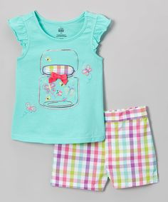Another great find on #zulily! Kids Headquarters Aqua & Pink Plaid Bug Jar Tee & Shorts - Infant, Toddler & Girls by Kids Headquarters #zulilyfinds