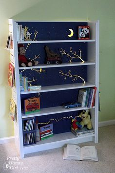 "I like the idea of cutting random things out the ""back board"" of his shelf and it being his night light!!! @jlgtate"