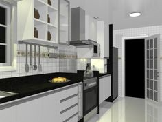 Cozinha. Vista lateral. Promob.