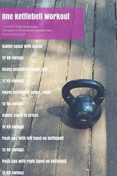 One Kettlebell Workout (great workout that can be done anywhere!) Full body kett… One Kettlebell Workout (great workout that can be done anywhere! Full Body Kettlebell Workout, Kettlebell Challenge, Kettlebell Circuit, Body Workouts, Boxing Workout, Total Body Toning, Workout Men, Tummy Workout, Fat Workout