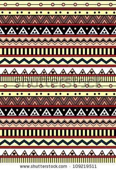 aztec pattern - brown, yellow, green