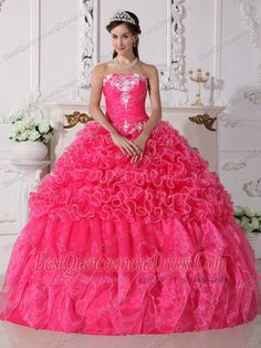 Home :: 2013 Quinceanera Dresses :: Hot Pink Ball Gown Strapless Floor ...