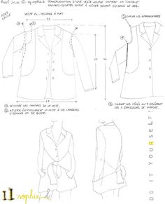© by sophie b. Spring / Summer 17: TUTO CROQUIS: Recycling of a soft vintage jacket in tunic ample to tie // DIY Recycling a vintage vest into a tunic.