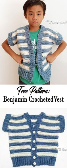FREE PATTERN: An easy crocheted vest suited for young boys and girls also.