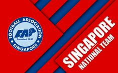 Download wallpapers Singapore football national team, 4k, emblem, Asia, material design, red blue abstraction, Football Association of Singapore, FAS, logo, Singapore, football, coat of arms