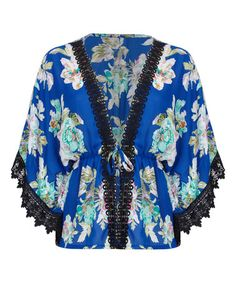 Look at this #zulilyfind! Cobalt Blue Floral Lace-Detail Kimono #zulilyfinds