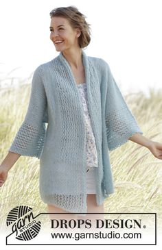 Drops Pattern 168-32, Knitted Airy Cardigan with Lace pattern in Drops Brushed Alpaca Silk