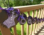 Bachelorette Wedding Shower Bridal Party Bride to Be Corsette banner Black & Purple Zebra