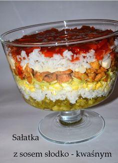 Przepisy Magdy: Sałatka warstwowa z sosem słodko-kwaśnym