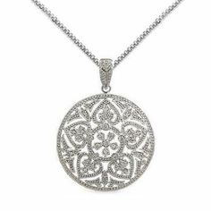 Hearts and Flowers Pave Cubic Zirconia Round Pendant Rhodium over Sterling Silver, 20-inch AzureBella Jewelry. $106.58. Rhodium over .925 sterling silver. Chain included - your choice of lengths
