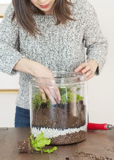 How to Make a Closed Terrarium Looking for an easy way to add a splash of green to your home decor? We've partnered with Kim and Scott Vargo of Yellow Brick Home to show you how to make your own closed terrarium. Closed Terrarium Plants, Terrarium Containers, Garden Terrarium, Glass Terrarium, Succulent Terrarium, Terrarium Ideas, Terrarium Wedding, Garden Totems, Ikea Terrarium