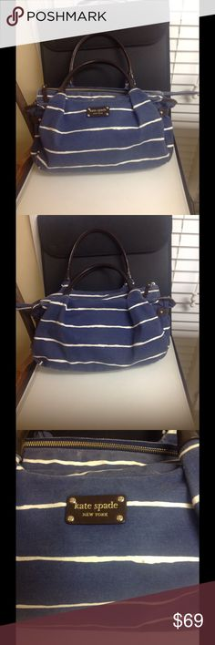 Kate Spade Denim Handbag Adorable brown leather with denim stripe satchel handbag by Kate Spade. Minor wear on corners, lining has a few spots, otherwise nice condition. Protective gold feet and hardwRe, classic style, low price. kate spade Bags Satchels
