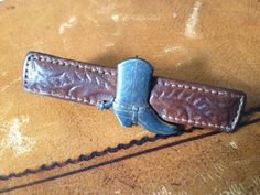 Vtg Hickok Tie Clip Leather and Silver by JansVintageStuff on Etsy, $48.00