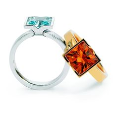 Andrew Geoghegan Fission Cocktail Ring, Square, available in blue topaz, lemon quartz, citrine, peridot, amethyst & garnet.