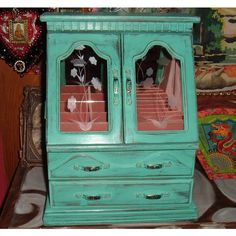HUGE Large Wood Jewelry Box Shabby Chic Distressed Cottage