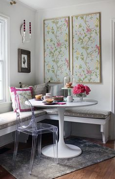 Cheery Breakfast Nook before  After on Domino